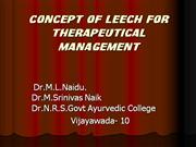 Ayurveda CONCEPT OF LEECH FOR THERAPEUTICAL MANAGEMENT