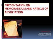 PRESENTATION ON MEMORANDUM AND ARTICLE OF ASSOCIATION