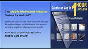 The Mobile Info Product Publisher System for Android™ (MIPP)
