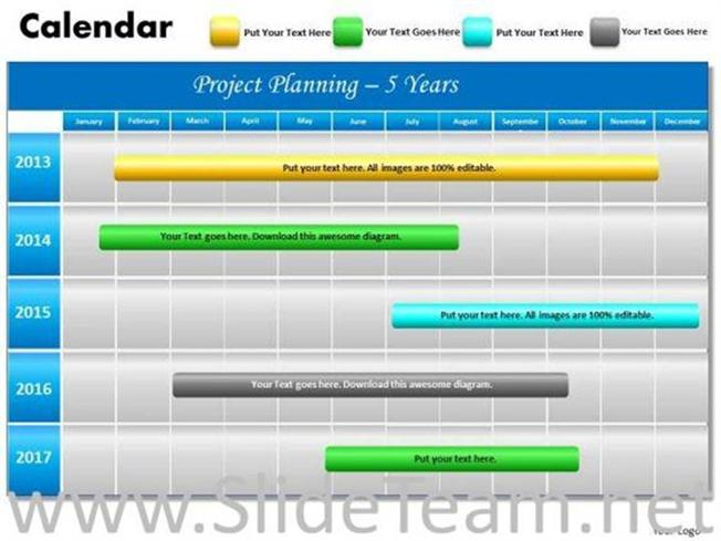 5 YEAR PLANNING GANTT CHART POWERPOINT TEMPLATE-PowerPoint Diagram