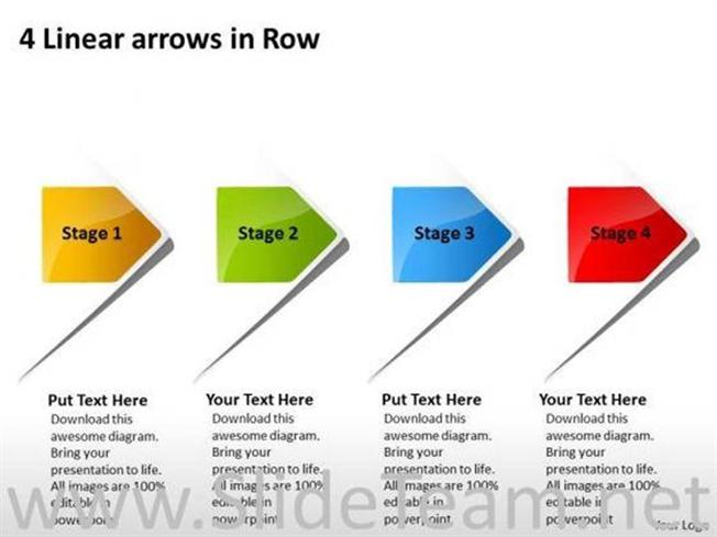 4 Linear Arrows Flowchart Ppt Slides Powerpoint Diagram