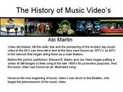 my history of music video's