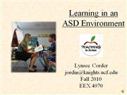 Lynsee Corder - Learning in an ASD Environment