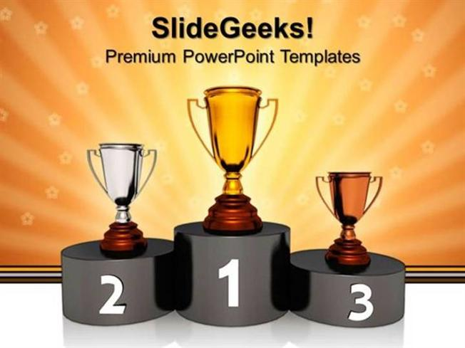 podium with golden trophy winner success powerpoint template, Presentation templates