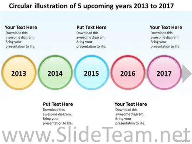 Circular illustration of 5 upcoming years 2013 to 2017 ppt slides related powerpoint templates toneelgroepblik Image collections