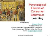 Learning - A Key Psychological Factor in Consumer Behaviour