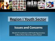 Region I Youth Sector Issues and Concerns