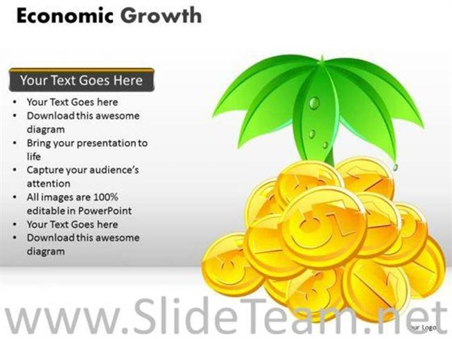 Economic Growth Gold Coins Ppt Slides Powerpoint Diagram