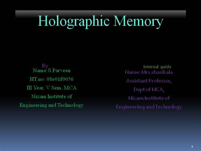 HOLOGRAPHY PDF PPT DOWNLOAD