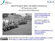 Search Engine Wars: let battle commence