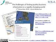 Challenges of Finding Quality Business Information