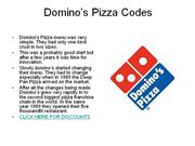 domino's pizza codes