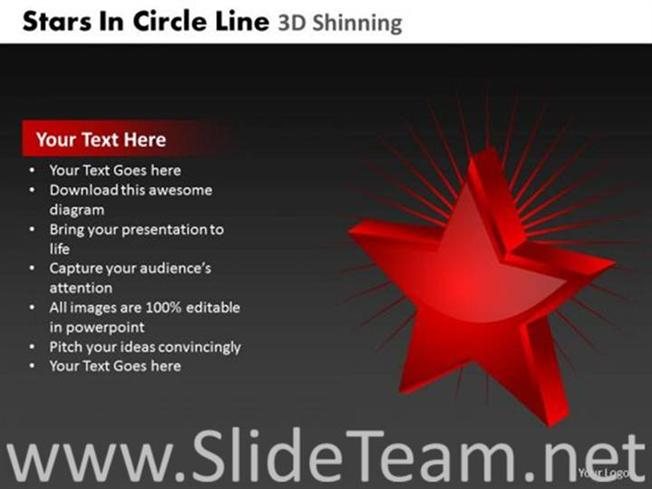 Red Shining Star Ppt Theme Powerpoint Diagram