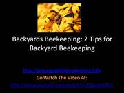 Backyards Beekeeping - 2 Tips For Backyard Beekeeping
