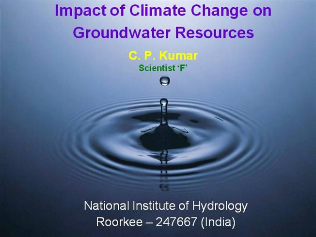 Impacts on Groundwater of Climate Change