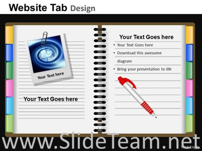Pen on a diary ppt design-powerpoint diagram.