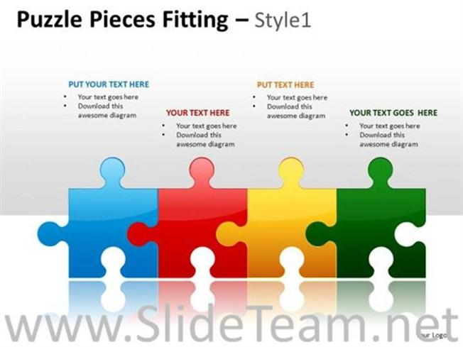 business teamwork with jigsaw puzzle pieces-powerpoint diagram, Powerpoint templates