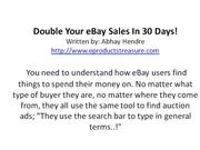 Double Your eBay Sales In 30 Days!