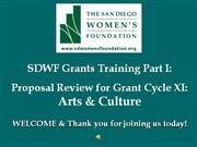SDWF 2011 Grants Proposal Review ONLINE Training 12-2011