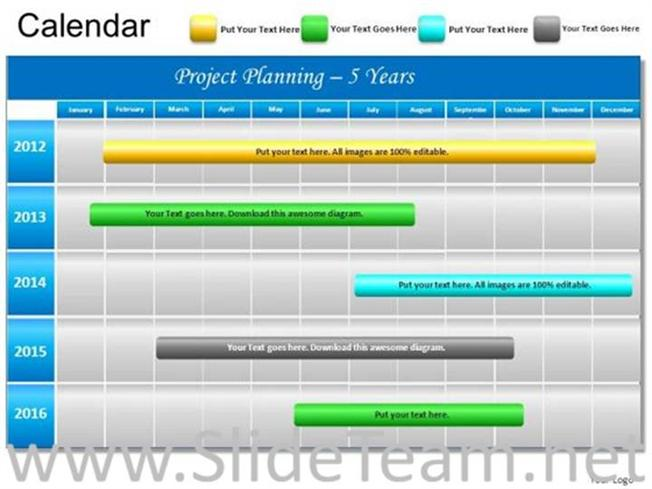 5 Year Timeline Ppt Chart-Powerpoint Diagram