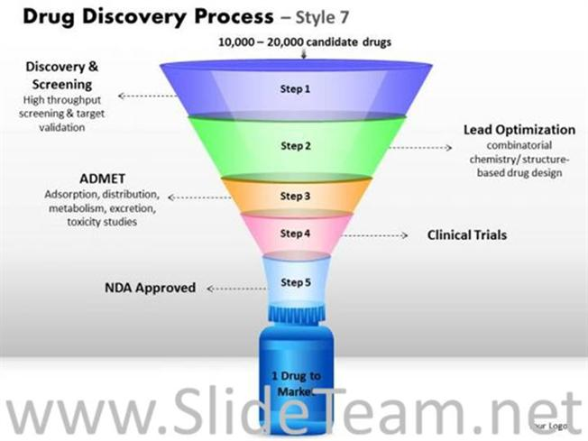 Drug Discovery And Development Process-PowerPoint Diagram