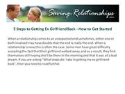 5 Steps to Getting Ex Girlfriend Back - How to Get Started