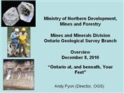 Ontario Geological Survey - 2010 Update