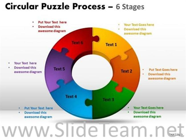 Circle Diagram With Six Segments Powerpoint Diagram