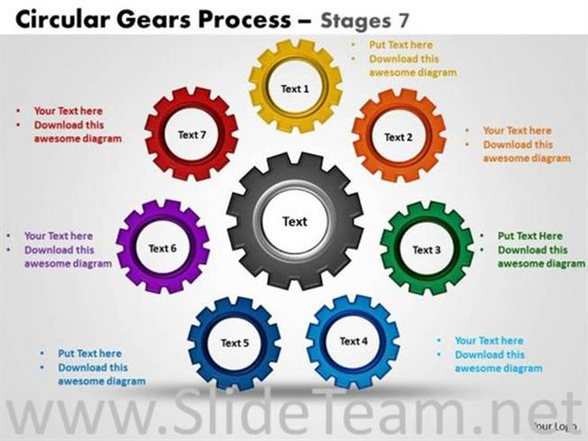 Circular Gear Shape Powerpoint Layout Powerpoint Diagram