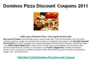 Dominos Pizza Discount Coupons 2011