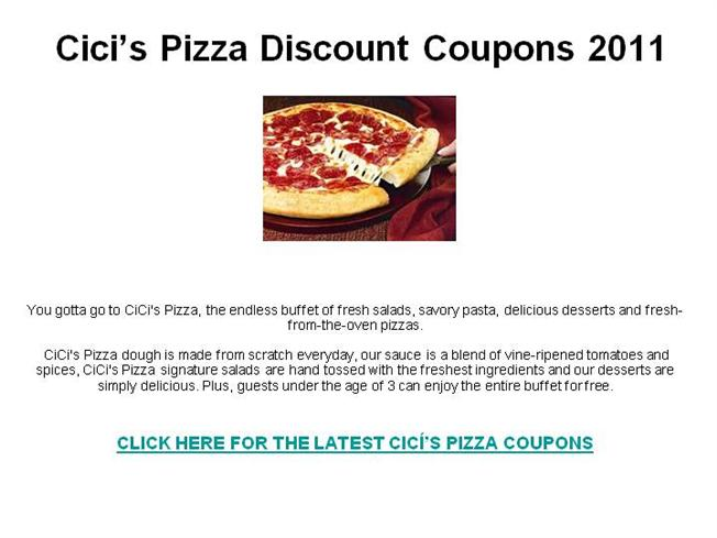 photo relating to Cici's Pizza Printable Coupons identify CiciS Pizza Price cut Coupon codes 2011 authorSTREAM