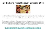 Godfather's Pizza Discount Coupons 2011
