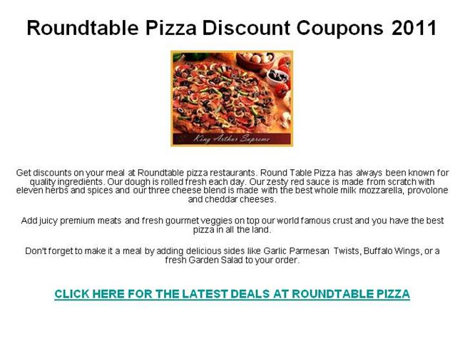 photo relating to Toppers Pizza Place Printable Coupons named Roundtable Pizza Lower price Discount coupons 2011 authorSTREAM