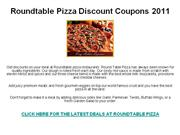 Roundtable Pizza Discount Coupons 2011