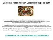 California Pizza Kitchen Discount Coupons 2011