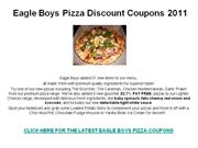 Eagle Boys Pizza Discount Coupons 2011