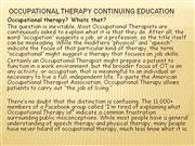 Occupational Therapy Continuing Education