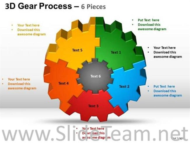 3d Gear Process For Business Process Powerpoint Diagram