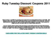Ruby Tuesday Discount Coupons 2011