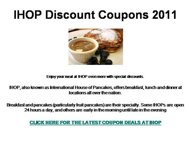 photograph about Ihop Printable Menu known as IHOP Discounted Discount codes 2011 authorSTREAM