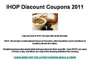 IHOP Discount Coupons 2011