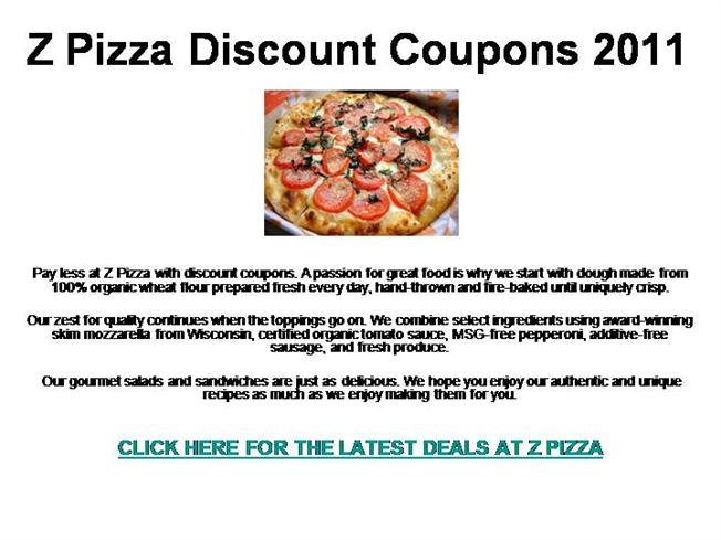 picture relating to Toppers Pizza Place Printable Coupons identified as Z Pizza Discounted Coupon codes 2011 authorSTREAM