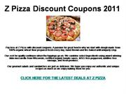 Z Pizza Discount Coupons 2011