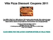 Villa Pizza Discount Coupons 2011