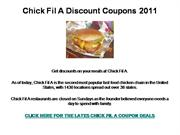 Chick Fil A Discount Coupons 2011