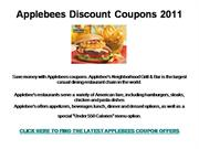 Applebees Discount Coupons 2011