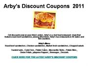 Arby's Discount Coupons  2011