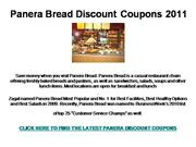 Panera Bread Discount Coupons 2011