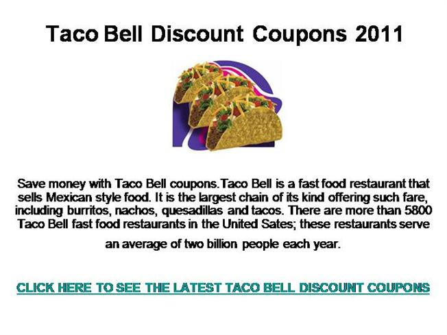picture regarding Taco Bell Printable Coupons named Taco Bell Lower price Discount coupons 2011 authorSTREAM
