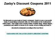Zaxby's Discount Coupons 2011